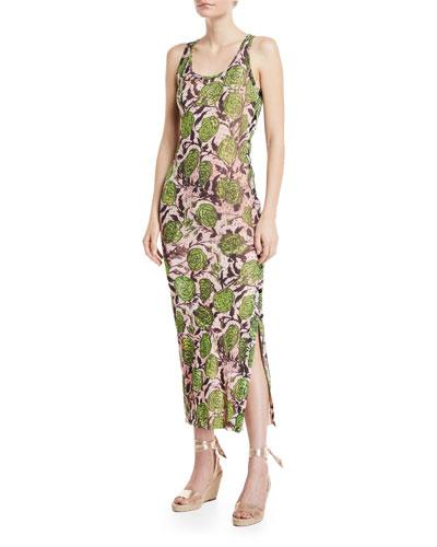 Rose-Print Side-Button Maxi Dress