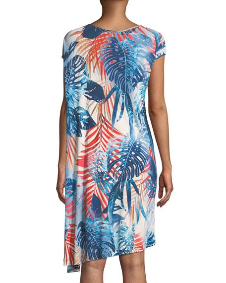 Jungle-Print Jersey Asymmetric Dress
