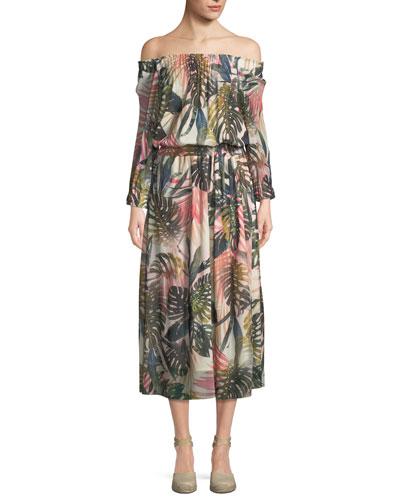 Jungle-Print Off-the-Shoulder Midi Dress