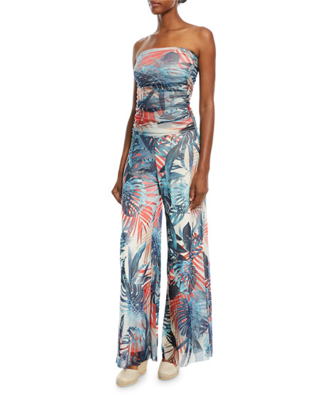 Fuzzi Jungle-Print Strapless Jumpsuit