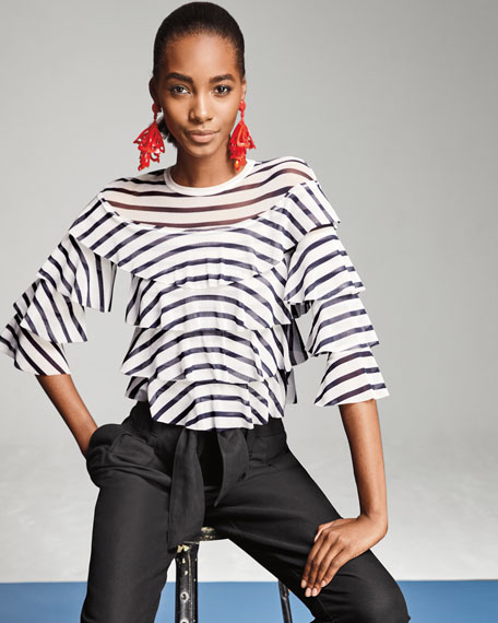Striped Tiered-Ruffle Top