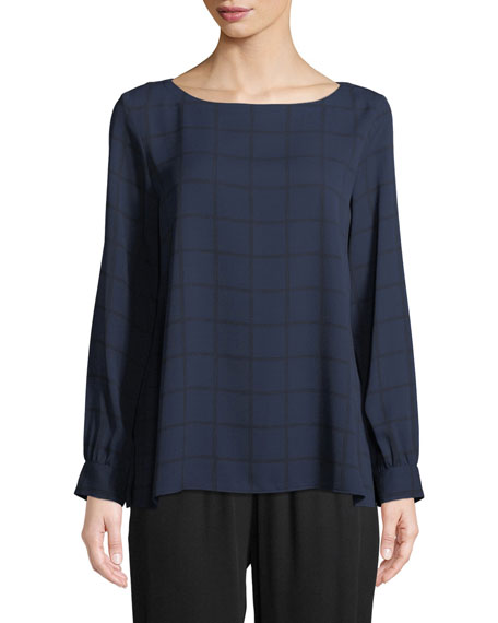 Eileen Fisher Drawn Plaid Silk Crepe Top