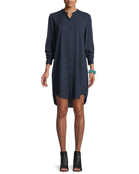 Eileen Fisher Plaid Silk Boyfriend Shirt Dress