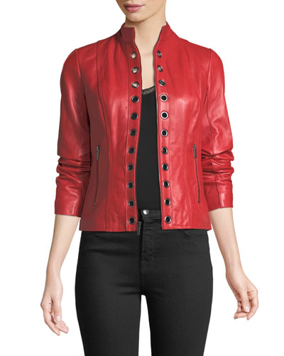 Grommet-Trim Leather Jacket