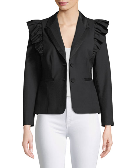Rebecca Taylor Ruffled Stretch-Wool Jacket