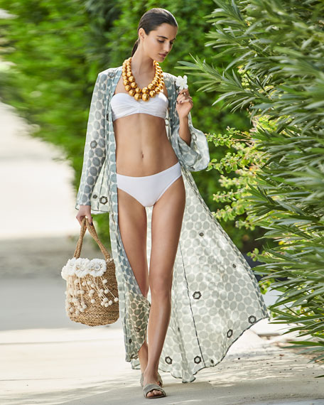 Open-Front Long-Sleeve Hand-Beaded Caftan Coverup