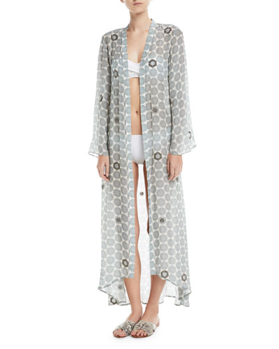 Open-Front Long-Sleeve Beaded Caftan Coverup