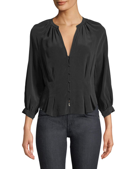 Bitina V-Neck Button-Front Silk Top