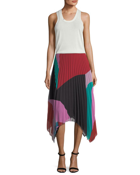Dashiella Colorblocked Pleated Asymmetric Midi Skirt
