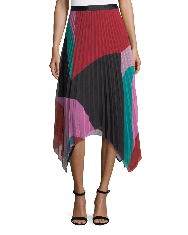2fcfc2771 Joie Dashiella Colorblocked Pleated Asymmetric Midi Skirt | Neiman ...