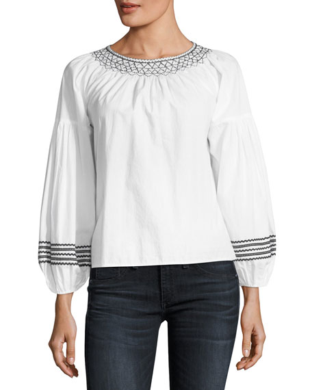 Ghada Round-Neck Poplin Top With Embroidery, White from LastCall.com