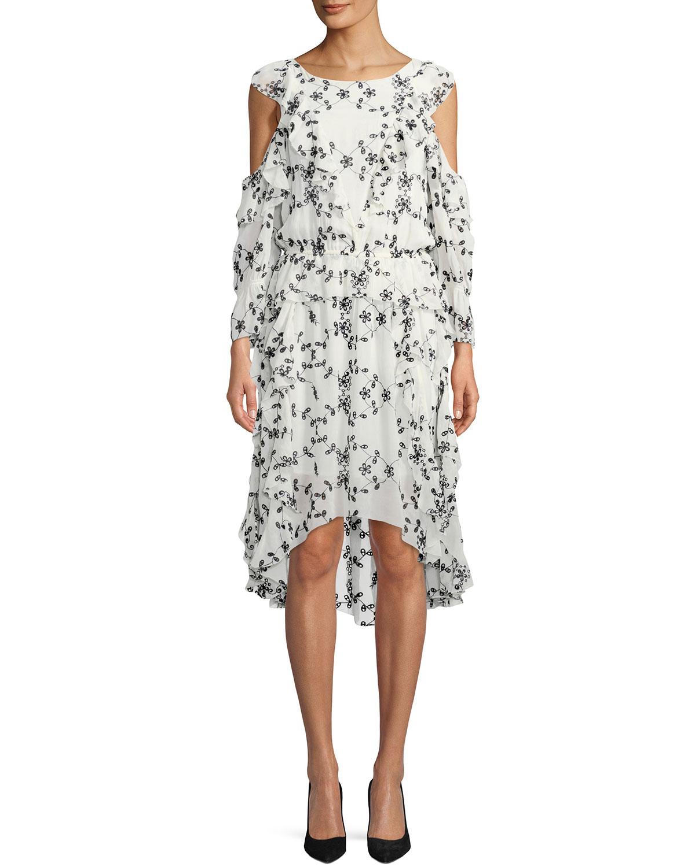 6b310195735 Joie Alpheus Floral-Eyelet Cold-Shoulder Ruffled Silk Dress | Neiman ...