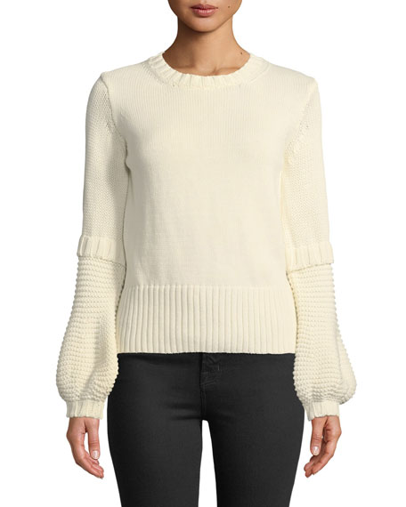 MiH Leeson Balloon-Sleeve Cotton Sweater