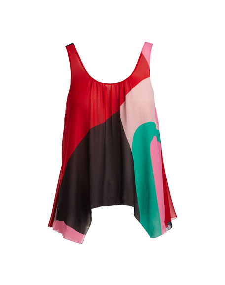 Felixa Sleeveless Colorblocked Draped Silk Blouse