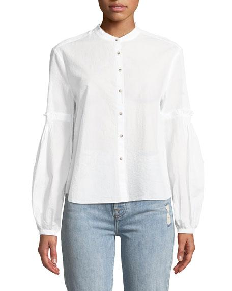 Esther Seersucker Balloon-Sleeve Shirt