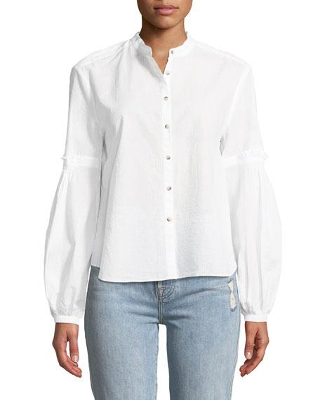 MiH Esther Seersucker Balloon-Sleeve Shirt
