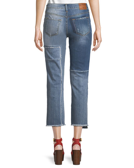 Stovepipe Deconstructed Patchwork Jeans