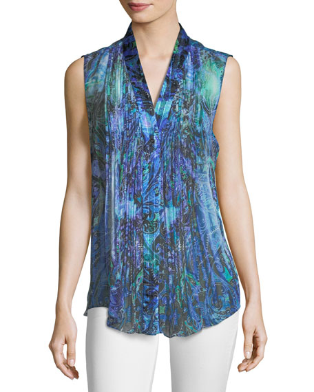 Elie Tahari Ellis Graphic-Print Sleeveless Silk Blouse