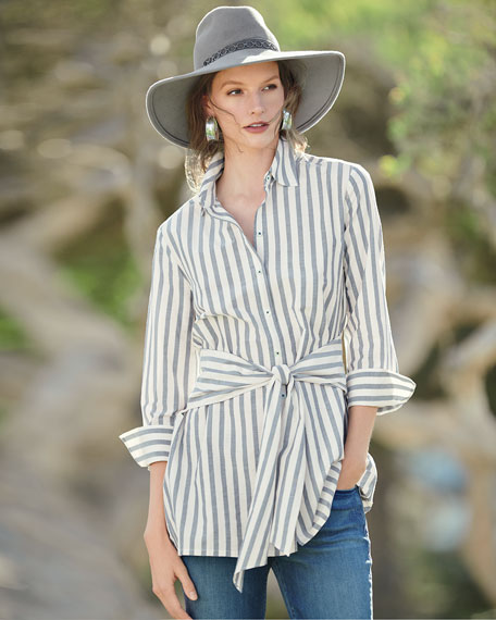 Striped Tie-Front Silk-Blend Shirt, Plus Size