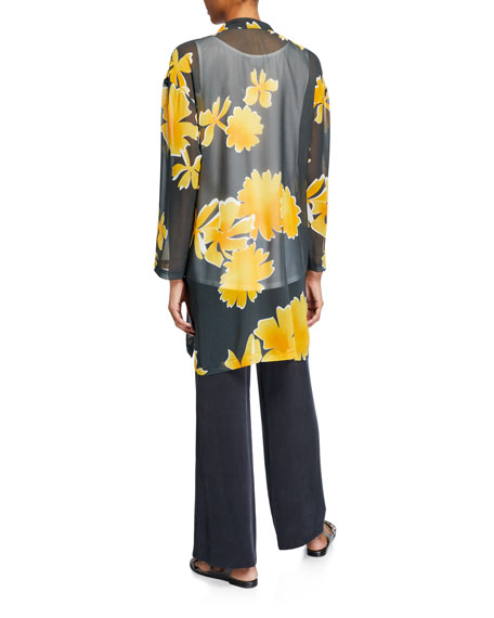 Floral Silk Georgette Tunic, Plus Size