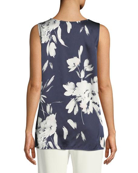 Floral-Print Silk Georgette Tank, Plus Size