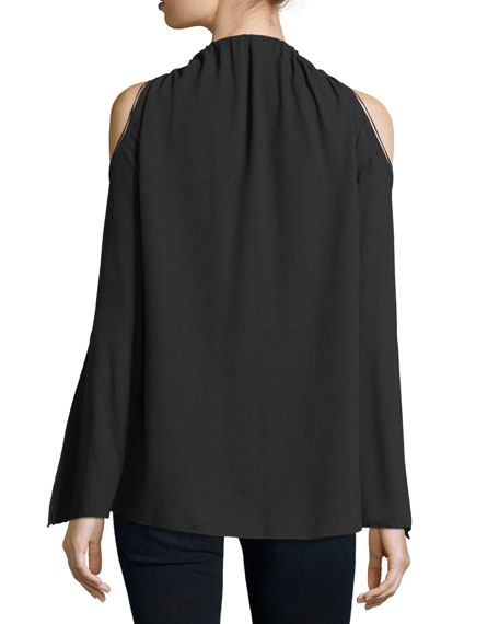 Jahira Cold-Shoulder Zip-Front Blouse
