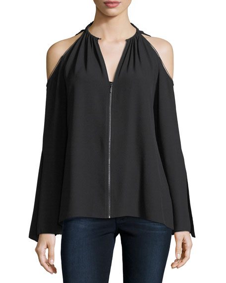 Elie Tahari Jahira Cold-Shoulder Zip-Front Blouse