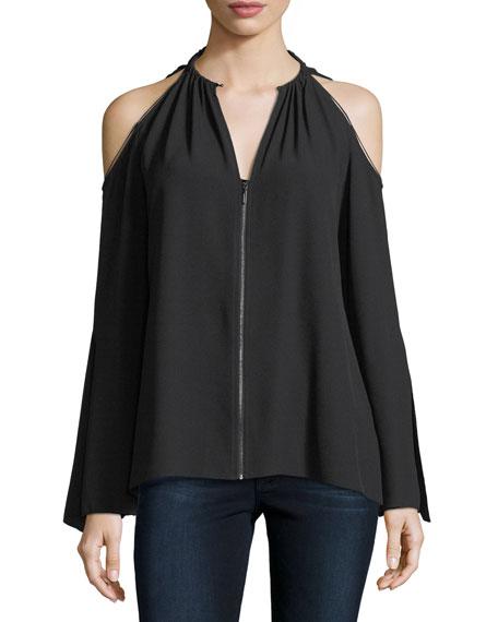 Elie Tahari Jahira Cold-Shoulder Zip-Front Blouse