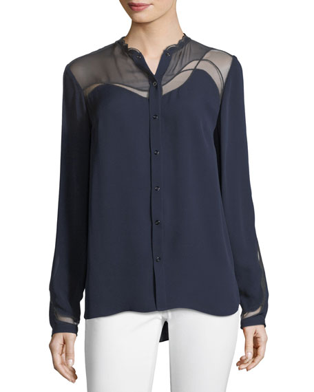 Justina Scalloped Button-Front Shirt