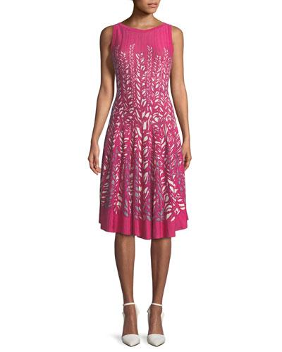 Tango Twirl Sleeveless Fit-and-Flare Dress, Petite