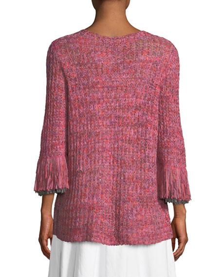 Bazaar Fringed-Cuffs Knit Top, Petite