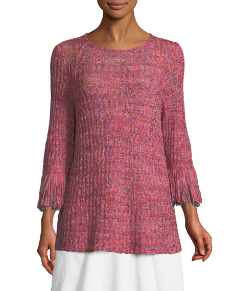 NIC+ZOE Bazaar Fringed-Cuffs Knit Top and Matching Items