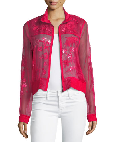 Suri Long-Sleeve Floral  Organza Jacket