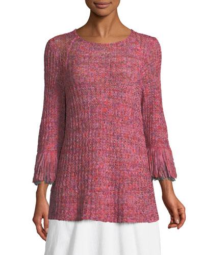 Bazaar Fringed-Cuffs Knit Top