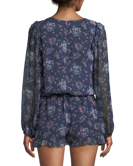 Cherita Button-Front Long-Sleeve Floral-Print Silk Romper