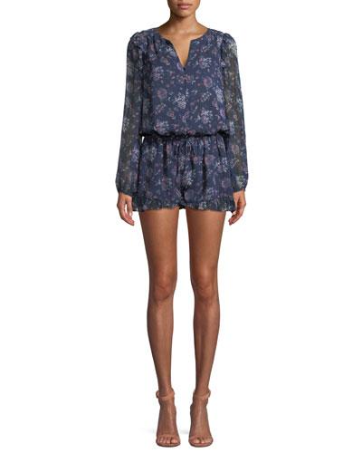 Cherita Button-Front Long-Sleeve Floral-Print Silk Romper