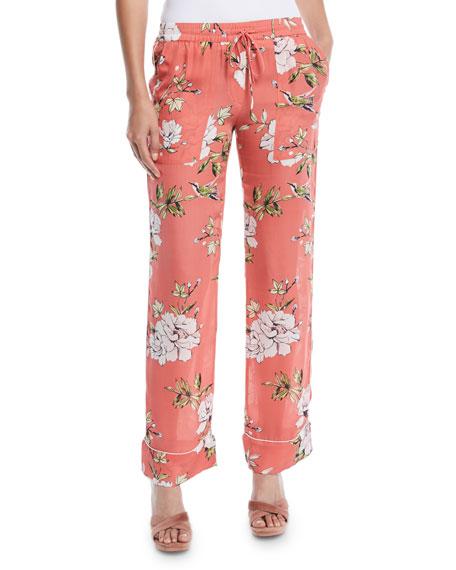 Joie Daltona Silk Floral-Print Lounge Pants