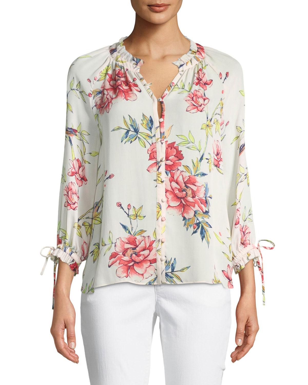 387d1183877e Joie Corsen Button-Front Floral-Print Silk Top | Neiman Marcus