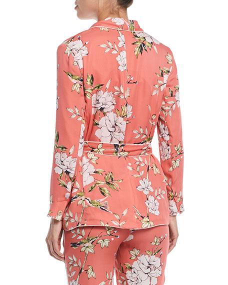 Anasophia Floral-Print Silk Jacket