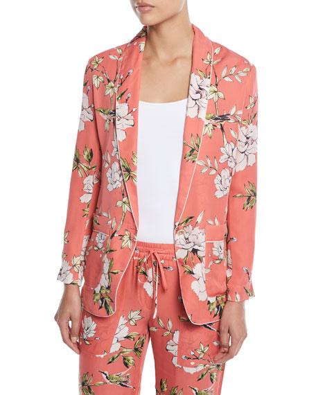 Anasophia Floral Print Silk Jacket by Neiman Marcus