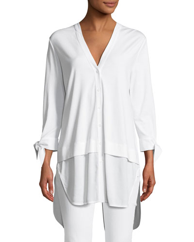 High-Low Poplin Shirting Tunic, Petite