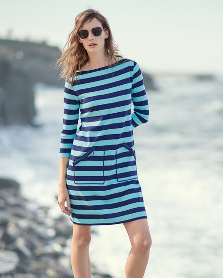 3/4-Sleeve Striped Cotton Shift Dress