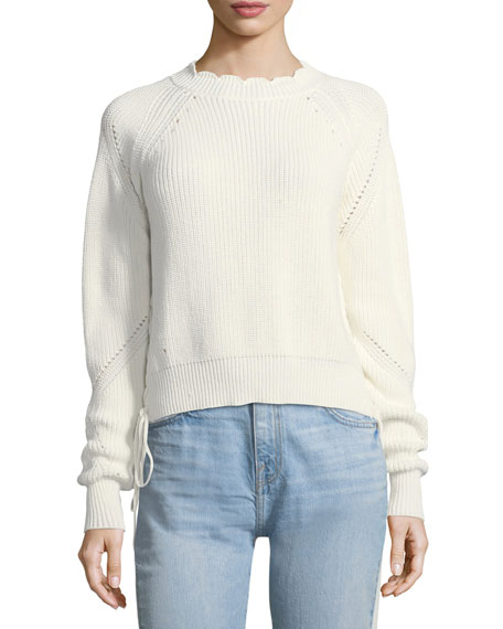 Joie Adanya Lace-Up Sides Knit Sweater