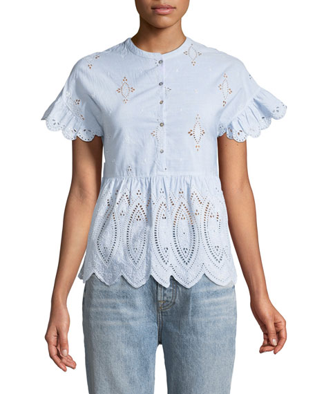 Joie Cerelia Scalloped Eyelet Top