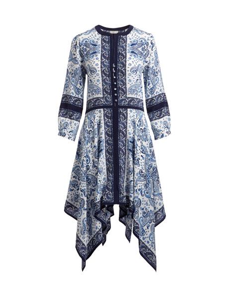 Cynthia Button-Front Paisley-Print Silk Dress