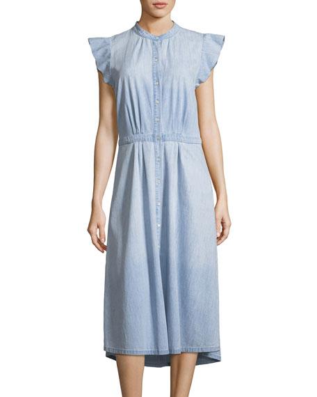 Awel Sleeveless Button-Front Chambray Midi Dress