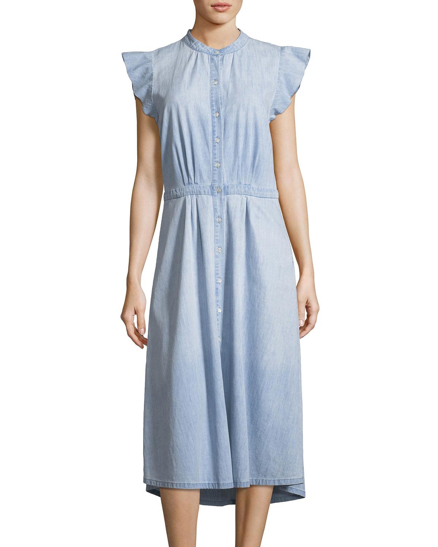 2c90a4a9fe Joie Awel Sleeveless Button-Front Chambray Midi Dress