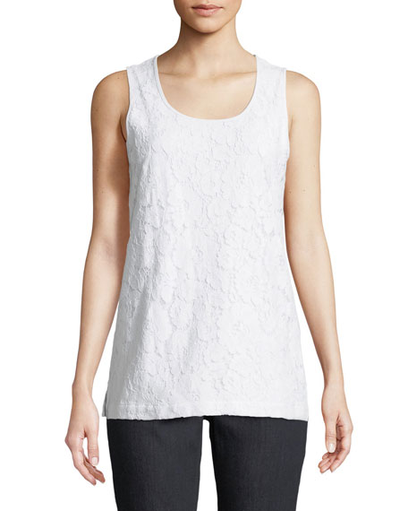 Joan Vass Floral-Lace Layering Tank, Plus Size