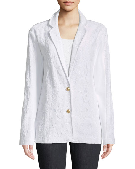 Floral Lace Two-Button Jacket, Petite