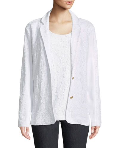 Floral Lace Two-Button Jacket